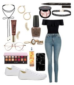 """""""Unnamed #77"""" by dholi-thokbuom on Polyvore featuring Sans Souci, Converse, Miss Selfridge, Anastasia Beverly Hills, Nicole Miller, Too Faced Cosmetics, Gorjana, OPI, Nordstrom and Smith & Cult"""
