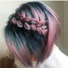 dutch plait on ombre dusky rose to petrol blue bobbed hair
