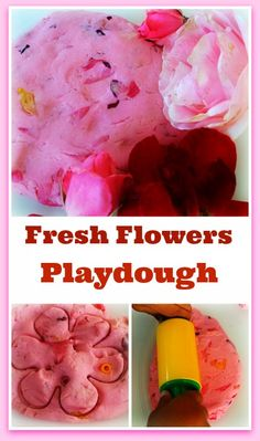 Fresh, fragrant easy to make flowers play dough for sensory fun.