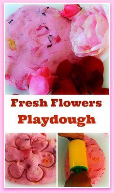 Fresh, fragrant easy to make flowers play dough for sensory fun.