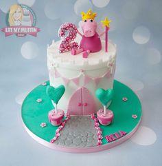 Peppa Pig Cake Ideas - Castle Cake Birthday Party Cake, Peppa Pig, George Pig, Daddy Pig, Mummy Pig, Peppa House, Muddy Puddle, Red Car, Dinosaur