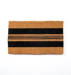 Black Horizontal Stripe Doormat -   Rejuvenation