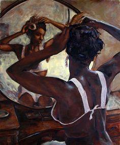 """Special Care"" - Michael Orwick, oil on canvas {contemporary artist figurative female african-american black woman back painting} Black Girl Art, Black Women Art, Art Girl, Natural Hair Art, Pelo Natural, African American Art, African Art, Caricatures, Black Artwork"