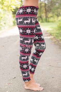 Fleece Lined Reindeer Leggings Super Deal! - The Pink Lily Boutique