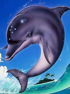 Diamond Painting Starter Kit ~ Dolphin | DIY Diamond Painting Kit For Beginners & Experts. Available in multiple sizes. Instant stress relief for anxiety treatment. Makes a beautiful gift or home decor once finished and framed! Dolphin Painting, Dolphin Art, Beautiful Creatures, Animals Beautiful, Animals And Pets, Cute Animals, Dolphins Tattoo, 5d Diamond Painting, Sea Creatures
