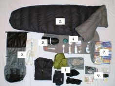 An excellent Gear List with photos of entire gear and subcomponents (cooking, eating, etc.)- For the lightweight hiker, but not a bad list. Plus some interesting packing tips.