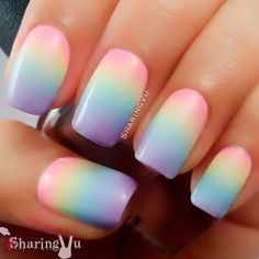 Nail art is a very popular trend these days and every woman you meet seems to have beautiful nails. It used to be that women would just go get a manicure or pedicure to get their nails trimmed and shaped with just a few coats of plain nail polish. Unicorn Nails Designs, Ombre Nail Designs, Nail Art Designs, Easter Nail Designs, Ombre Nail Art, Nail Designs For Kids, Gel Manicure Designs, Unicorn Nail Art, Trendy Nails