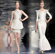 Long and short dresses from Giorgio Armani Prive couture collection 2010 shown at Paris Fashion Week