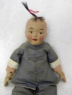 """Unusual 16"""" Asian Chinese Boy Doll w Oil Cloth lower Arms Legs Compo Type Head"""