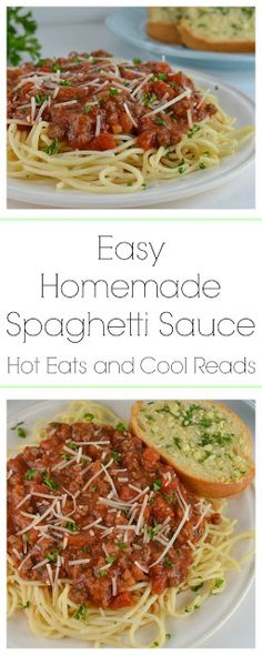 This is a delicious and easy to make pasta sauce! Perfect for dinner or a pasta bar party! Can also be made in the slow cooker! Easy Homemade Spaghetti Sauce Recipe from Hot Eats and Cool Reads! #YesYouCAN [ad]