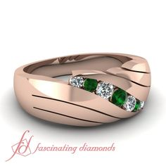 Round Diamonds and Green Emerald 14K Rose Gold Men's Wedding Ring in Channel Setting    Accent Slant Ring