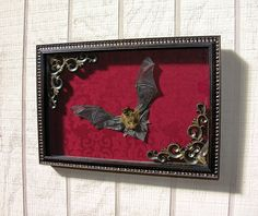 Real Dry Preserved & Ethically Sourced Bat Specimen in Ornate Frame with Damask Fabric Backing by BoneLust on Etsy