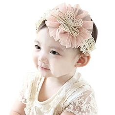 Amazon.com: 1 Piece Baby Girls Ruffle Flower Elastic Lace Hair Decor Hairband Headband: Childrens Costume Headwear And Hats: Clothing