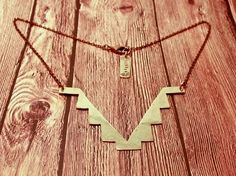 Tribal Necklace - Southwestern Native American Inspired - Triangle Points Geometric Metal - RaeBird Jewelry