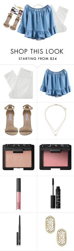 """""""nothing lasts forever but this is gonna take me down"""" by katie-tx ❤ liked on Polyvore featuring Nobody Denim, Steve Madden, Topshop, NARS Cosmetics, Kendra Scott and Cartier"""