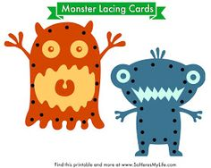 So Here's My Life...: Printable Monster Lacing Cards