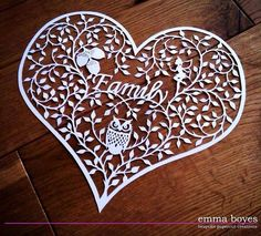 Personalised Family heart papercut commission by Emma Boyes (emmaboyes - papercuts)