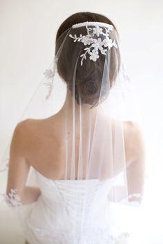 Jasmine mantilla Veil Available in Ivory & by MarisolAparicio, $215.00