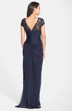 Adrianna Papell Lace Yoke Drape Gown | Nordstrom