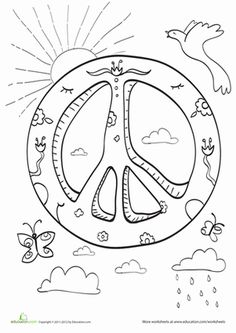 Kindergarten Coloring Worksheets: Peace Coloring Page