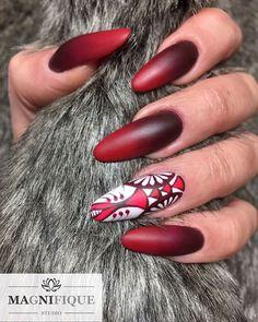 Red nails ombre #nails #naildesigns #amazingnails #rednails #mattnails #redmatt #redmattnails #indigonails #reddaimond #wzorkireczniemalowane #wzorkinapaznokciach #wzorynapaznokcie #czerwonepaznokcie #matowepaznokcie #ombrenails #paznokcieombre #czerwoneombre #
