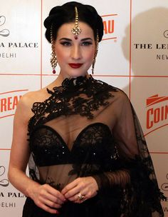Burlesque queen Dita Von Teese, in India as the global brand ambassador for Cointreau, wore a black Shivan and Narresh lace saree at the Be Cointreauversial party on November Pin Up Vintage, Mode Vintage, Fashion Mode, Asian Fashion, Burlesque Vintage, Dita Von Teese Style, Dita Von Teese Wedding, Dita Von Teese Makeup, Dita Von Tease