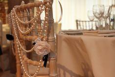 wedding chair decor, pearl chair decor