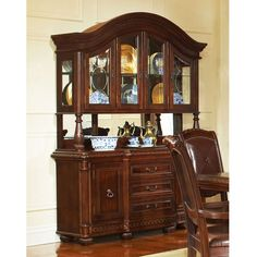 Found it at www.dcgstores.com - ♥ ♥ Antoinette Buffet Table with Glass Cabinet Hutch in Cherry Finish ♥ ♥