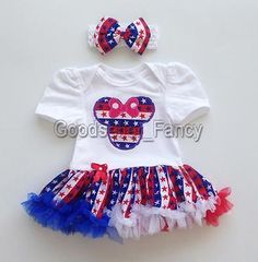 Baby-Girls-Infant-Flag-Star-Minnie-Mouse-Romper-Jumpsuit-Outfit-Headband-Clothes