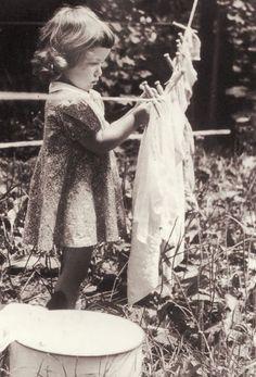 ~+~+~ Vintage Photograph ~+~+~  Little girl doing laundry