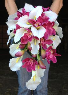 White Calla Lily and Pink Orchid Cascading Bride Bouquet