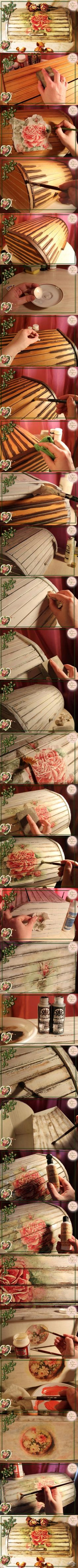 decoupage art craft handmade home decor DIY do it yourself tutorial Materials and techniques: rice paper napkin varnish mod podge craquelure paint etc. Napkin Decoupage, Decoupage Tutorial, Decoupage Box, Decoupage Vintage, Vintage Diy, Diy Tutorial, Wood Crafts, Diy And Crafts, 7 Arts