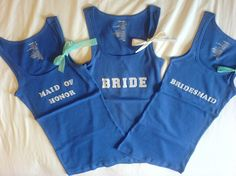 DIY bridal party shirts...with iron on letters instead of bleach. Sounds a lot easier!