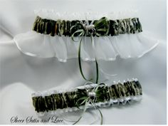 camo wedding dresses | WHITE Mossy Oak Camouflage wedding garters Deer CAMO garter
