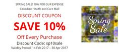 Canadian HealthCare Mall Great Sale is a wonderful chance to save up to 10% for all drugs and health products in the period from 14 Feb 2017 till 30 Apr 2017 with Coupon Code sp10sale. Take a chance and use our Great Spring Sale lasting till 30 Apr 2017! Use Canadian Health&Care Mall Discount Coupon and get 10% discount for all drug!