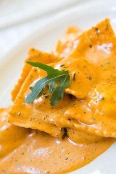 Homemade Salmon Ravioli In Creamy Tomato Sauce