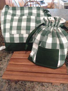 Tote and drawstring bag.