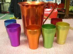 1950's lot 6 HELLER Hostess-Ware Colorama Aluminum Cups with Pitcher