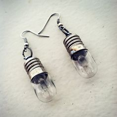Tiny Steampunk Lightbulb Earrings by NBetween on Etsy, $5.00