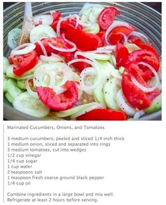 Marinated Cucumber, Tomato, & Onion Salad -change sugar to cup. Add dill weed For Karl. Red peppers instead of tomatoes Cucumber Recipes, Vegetable Recipes, Salad Recipes, Juice Recipes, Marinated Cucumbers, Cucumber Tomato Salad, Cucumber Salad Vinegar, Avocado Salad, Pickled Cucumbers And Onions