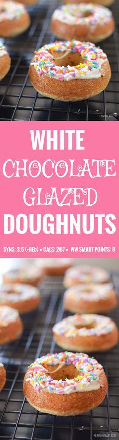 Slimming Eats White Chocolate Glazed Doughnuts - gluten free, vegetarian, Slimming World and Weight Watchers friendly