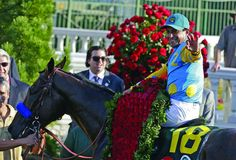 Victor Espinoza rides American Pharoah to victory in the running of the Kentucky Derby horse race at Churchill Downs Saturday, May in Louisville, Ky. Derby Horse Race, Horse Racing, Bob Baffert, Preakness Stakes, Triple Crown Winners, American Pharoah, Run For The Roses, Churchill Downs, Derby Day