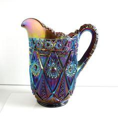 Vintage Carnival Glass Pitcher. $10.00, via Etsy.