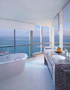 Jumeirah At Etihad Towers in Abu Dhabi #hotels #bathrooms #decor - an amazing hotel http://www.res99.com/hotel/10006005-11422351P.html great views