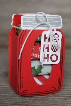 12 Days of Handmade Gift Ideas - Day 7 Hershey& Nugget Jar treat holder, wo., 12 Days of Handmade Gift Ideas - Day 7 Hershey& Nugget Jar treat holder, would be great for your Christmas table or as a stocking stuffer. Christmas Paper Crafts, Stampin Up Christmas, Best Christmas Gifts, Holiday Crafts, Christmas Crafts, Cheap Christmas, Christmas Treat Bags, Christmas Gift Card Holders, Homemade Christmas