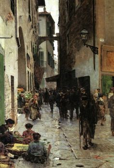 The Ghetto of Florence, 1882, Telemanco Signorini.  Signorini was part of a group called the Macchiaioli,  painters who emphasized light and shadow in their work.
