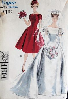 Lovely PRINCESS Style Bridal Gown Wedding Dress Pattern VOGUE Special Design 4068 Flattering Neckline and Styles Bust 32 Vintage Sewing Pattern Source by lesbianspace Vintage Vogue, Moda Vintage, Vintage Fashion, 1950s Fashion, Vogue Dress Patterns, Dress Making Patterns, Vintage Dress Patterns, Vintage Outfits, Vintage Dresses