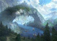Hinterland Harbor, an art print by Daniel Ljunggren - INPRNT Fantasy Art Landscapes, Fantasy Landscape, Landscape Art, Fantasy Town, My Fantasy World, Writing Fantasy, Mtg Art, Version Francaise, Fantasy Island