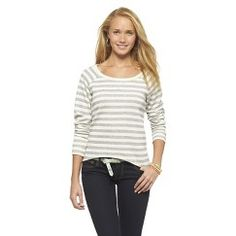Mossimo Supply Co. Stripe Pullover Sweatshirt In The Navy M(7-9)