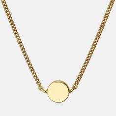 Enkel halskæde med en flot lille dot i massiv sølv.  Kædens længde er 45 cm.  Sterlingsølv (925) belagt med 18 karat guld, blankt poleret finish.  Varenummer: 1425a